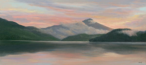 *Misty Sunrise From Lake Placid Lodge 8x18* Art | Tarryl Fine Art