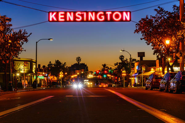 Kensington Sign At Sunset During Coronavirus Photography Art | McClean Photography