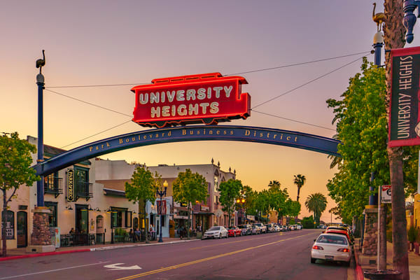 University Heights, San Diego Sign Sunset 1 Art | McClean Photography
