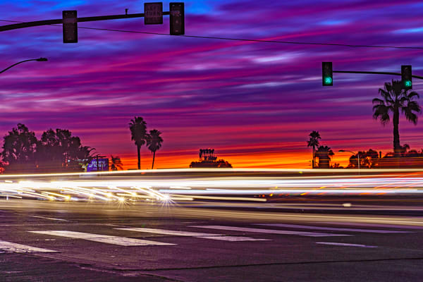 Light Streak Sunset At University Heights, San Diego Art | McClean Photography