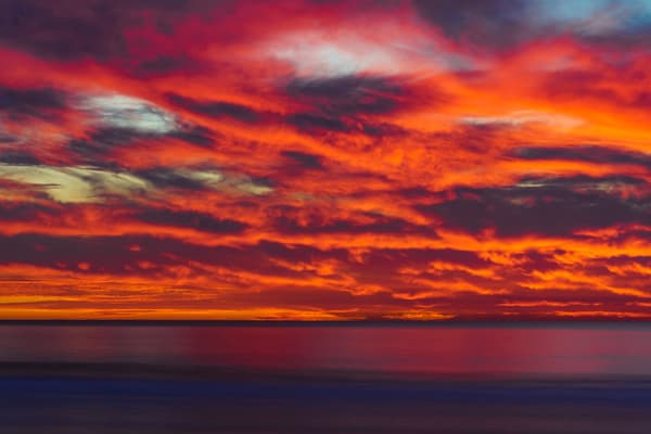 Pacific Beach, San Diego Fire Sunset Fine Art Print by McClean Photography