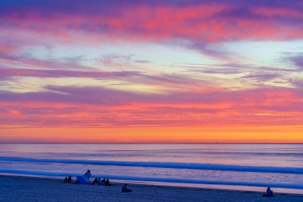 Cloudy Fire Sunset At Pacific Beach, San Diego Art | McClean Photography