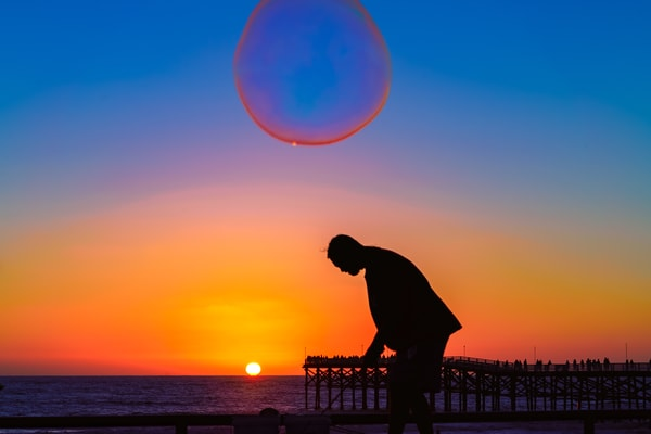 Bubble Man Sunset at Pacific Beach, San Dieog by McClean Photography