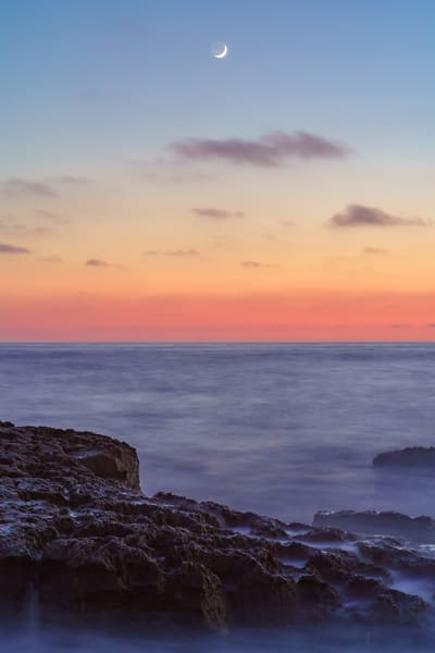 Moon Sunset at Ocean Beach, San Diego by McClean Photography
