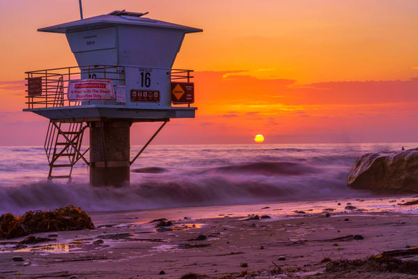 Lifeguard Tower Sunset in Encinitas, California by McClean Photography