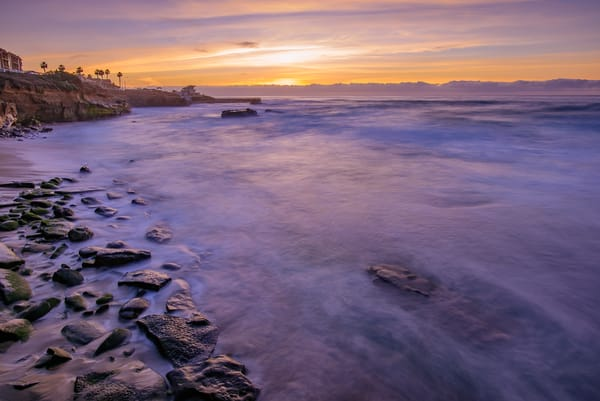 La Jolla Cove, Sunset With Rocks Fine Art Print by McClean Photography