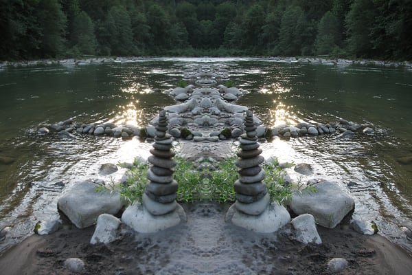 Mirror 095 River Cairn 1 Art | Loree Harrell Art