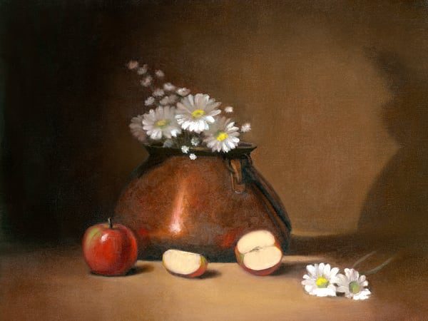 *Still Life With Copper, Apples And Daisies Art | Tarryl Fine Art