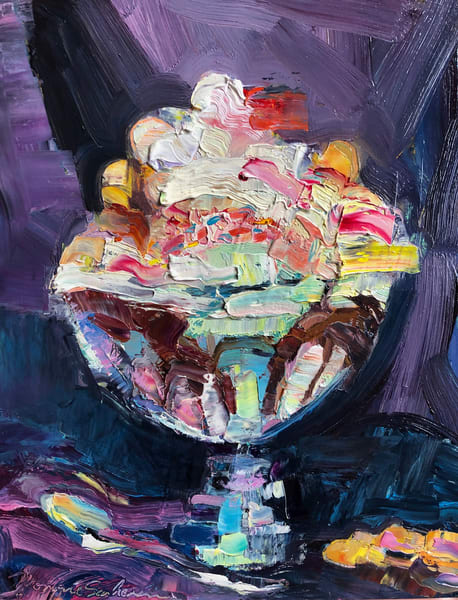 """Sweet"", still life painting of a huge ice cream sundae with whipped cream and a cherry on top by Monique Sarkessian, 8""x10"",oil $350"