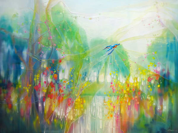 a large colourful contemporary oil painting called River Spell of a magical kingfisher by a riverbank of wildflowers