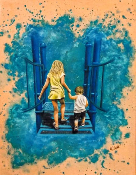 Holding Hands Painting by Ashley Koebrick Schmidt