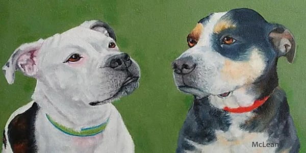 "Pet Portraits, 24""x12"" Original Oil Painting"