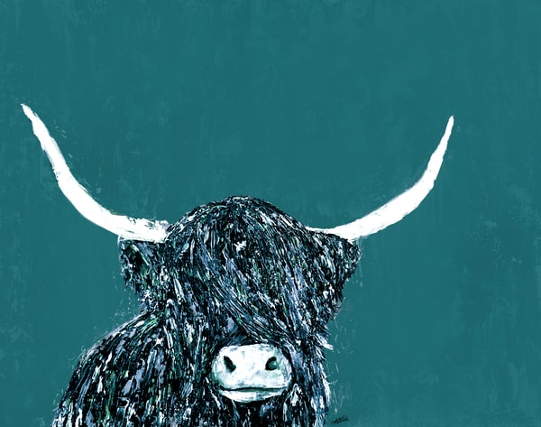 Monochromatic Teal Highland Cow Painting