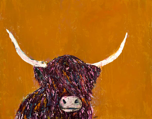 Colorful Highland Cow painting on mustard background