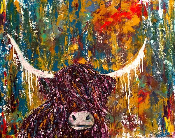 Highland Cow painting on colorful abstract background