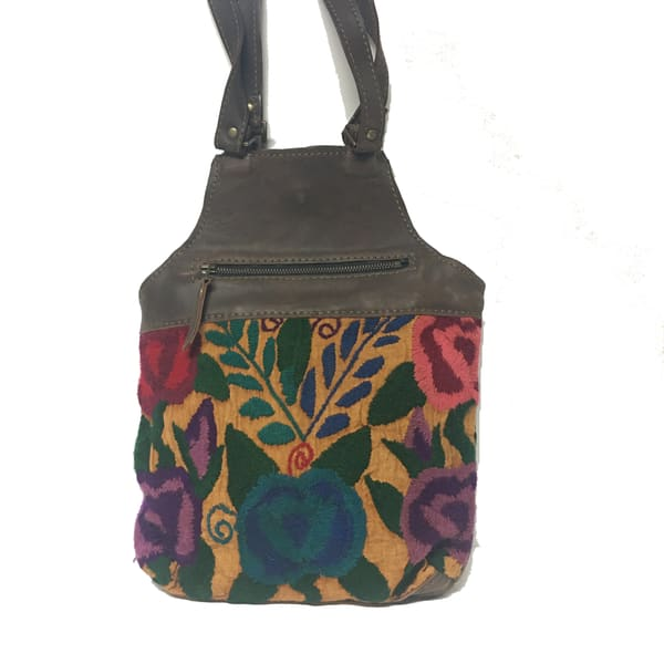 embroidered mixed material shoulder bag