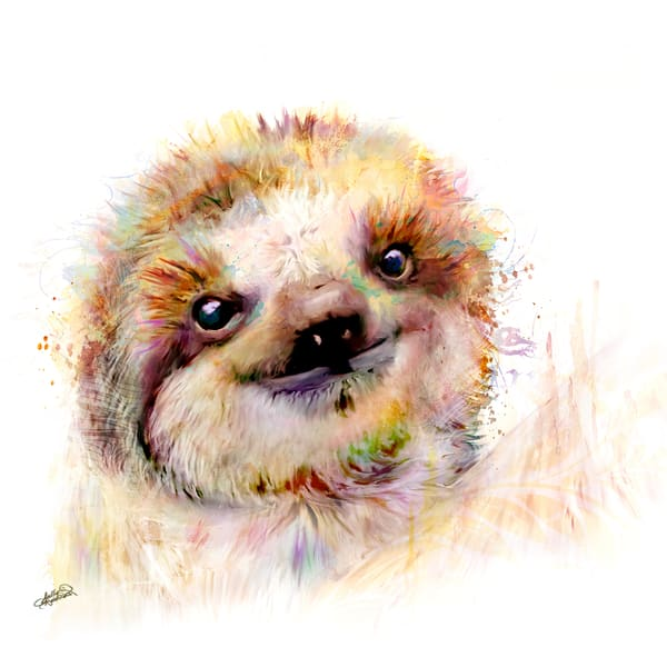 Adorable fluffy baby sloth art painting by Sally Barlow