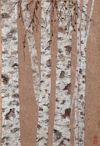 Tall Birch On Paper Art | donnadacuti