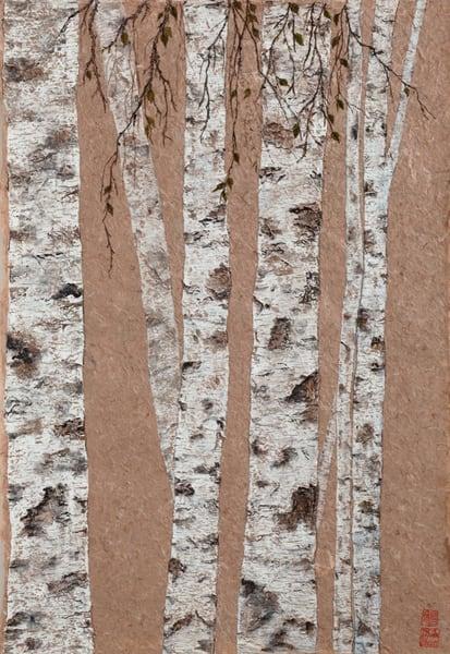 Tall Birch On Paper Art | donnadacuti