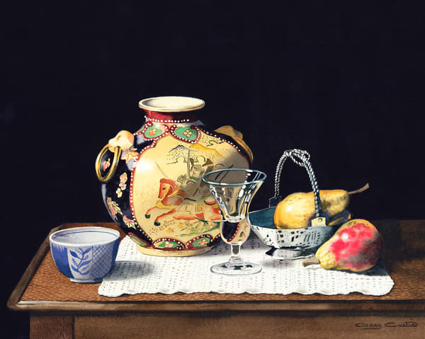 Oriental Pot With Crystal Pears Art | Gary Curtis Watercolors