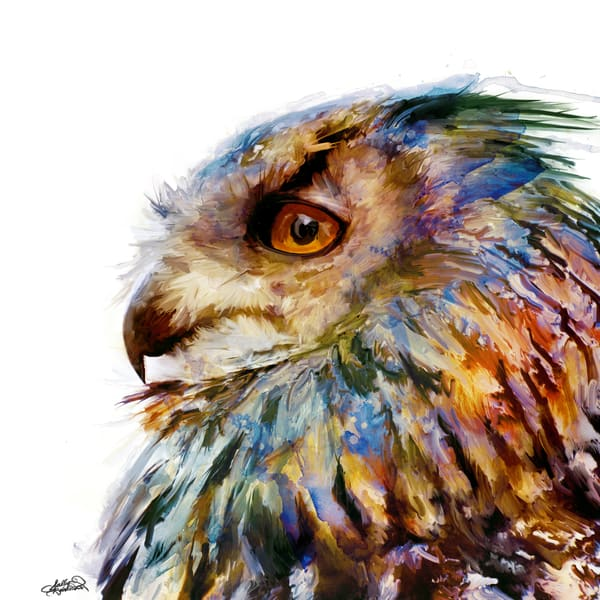 Unique colorful eurasian owl painting by sally barlow
