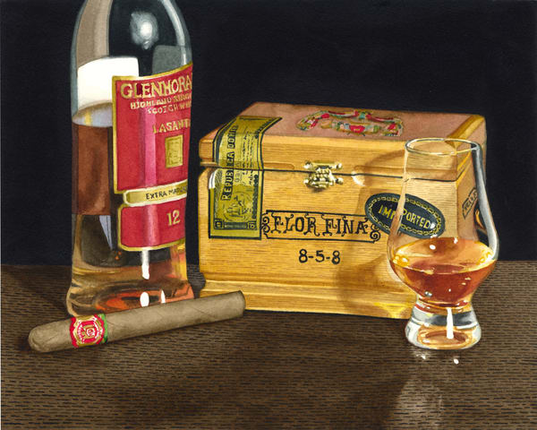 Scotch And Cigars Art | Gary Curtis Watercolors