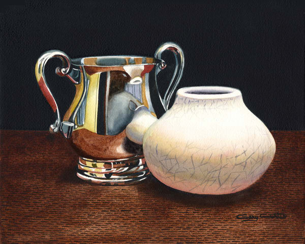 Silver Raku 9x12 Art | Gary Curtis Watercolors