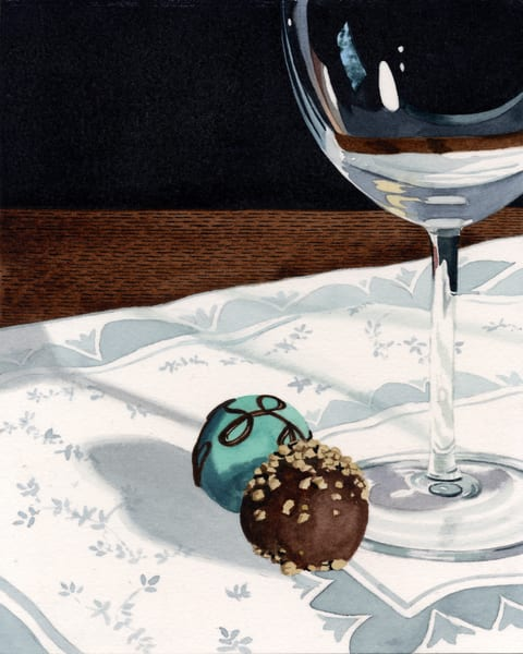 Truffles With Wineglass Art | Gary Curtis Watercolors