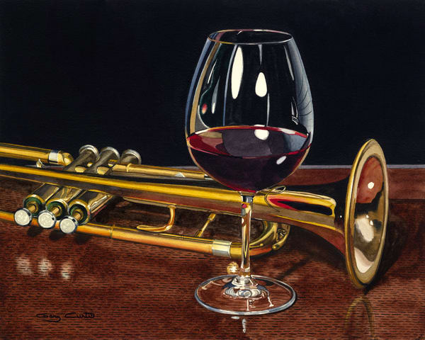Trumpet Wine Art | Gary Curtis Watercolors
