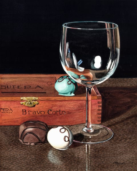 Wineglass, Chocolates And Cigars Art | Gary Curtis Watercolors