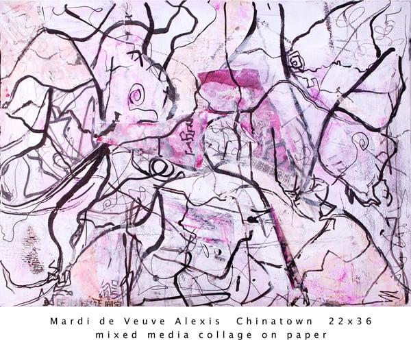 De Veuve Alexis Mardi Chinatown 22x36 Mixed Media Collage Paper Art | MardisArt