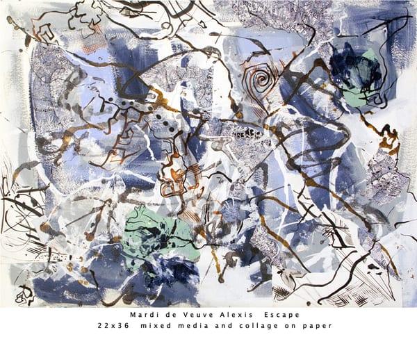 De Veuve Alexis Mardi Escape 22x36 Mixed Media Collage Paper Art | MardisArt