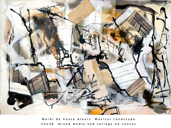 De Veuve Alexis Mardi Musical Landscape 24x36 Mixed Media Collage Canvas Art | MardisArt