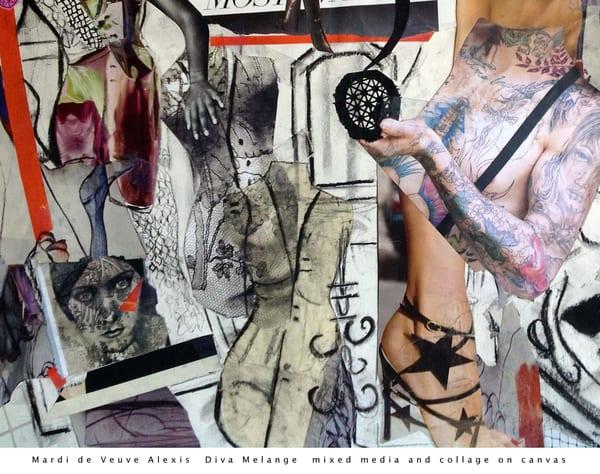 De Veuve Alexis Mardi Diva Melange Mixed Media Collage Canvas Art | MardisArt