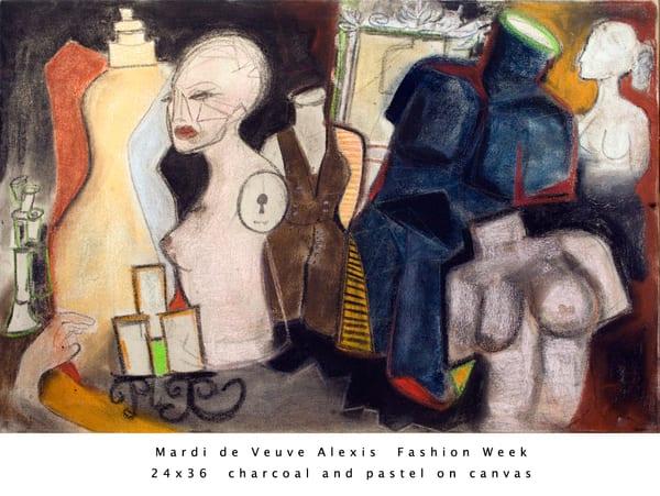 De Veuve Alexis Mardi Fashion Week 24x36 Charcoaland Pastel Canvas Art | MardisArt