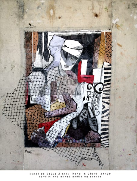 De Veuve Alexis Mardi Hand In Glove 24x20 Acrylic Mixed Media Canvas Art | MardisArt