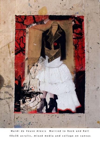 De Veuve Alexis Mardi Marriedto Rockand Roll 40x36 Acrylic Mixed Media Collage Canvas Art | MardisArt