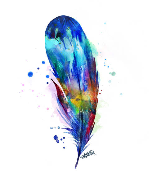 Bold and Colorful Feather Painting
