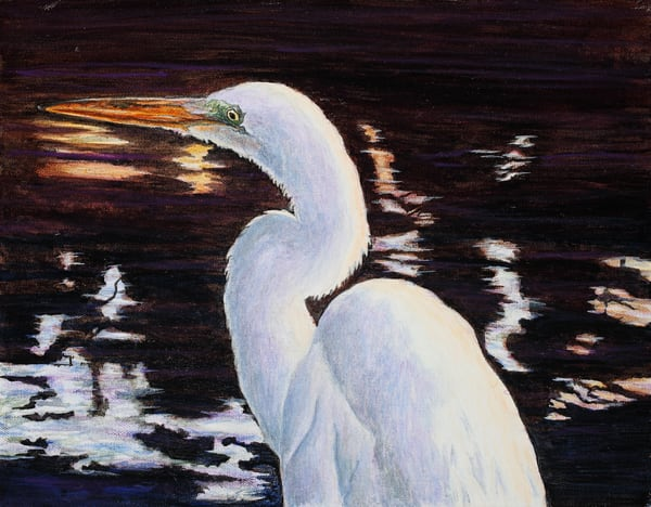 """""""Everglades Ghost""""   Great Egret Art 
