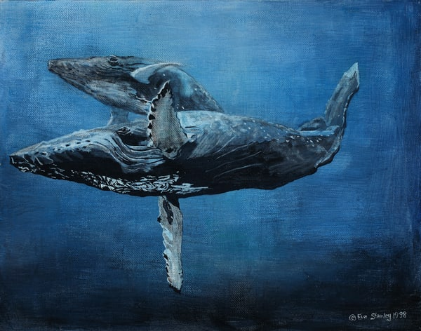 """""""Mother And Calf""""   Humpback Whales Art 