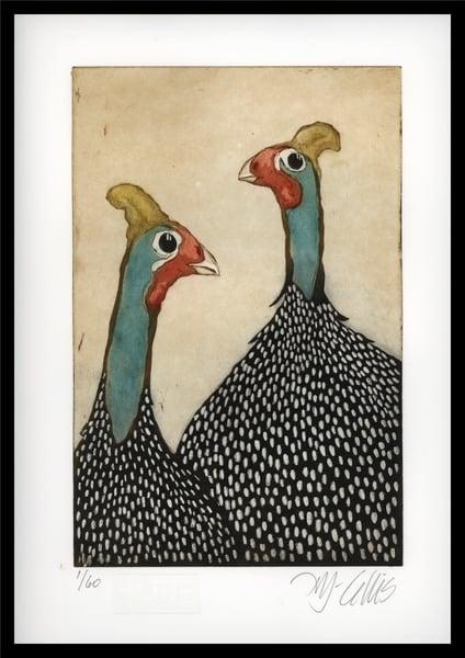 Guinea Hens   Aquatint Etching Art | mariannjohansen-ellis