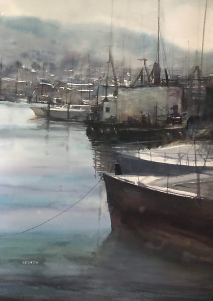 Open Edition Print | Watercolor Painting | Sleepy Harbor | Nishita Jain