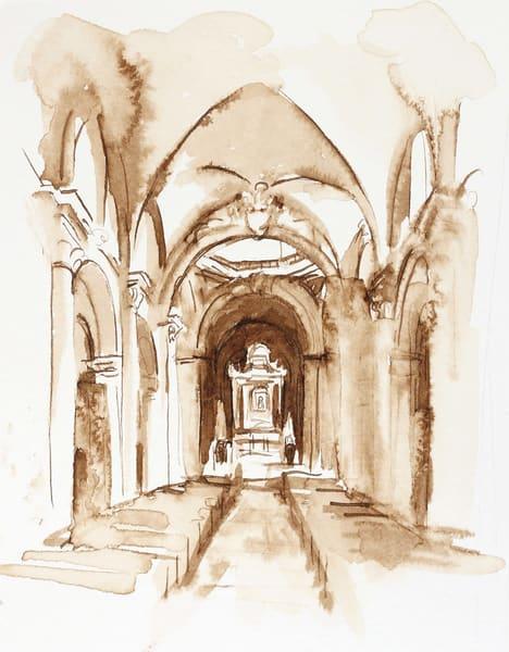 Santa Maria Del Popolo Ink Drawing, Rome 5x7 Original Art | Michelle Arnold Paine Fine Art
