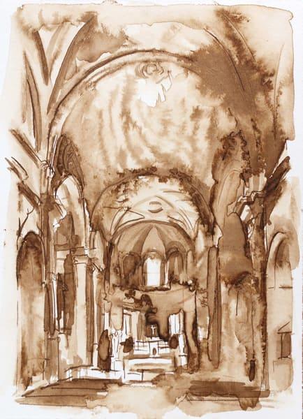 San Pietro Montorio Walnut Ink Drawing Rome 5x7 Original Art | Michelle Arnold Paine Fine Art