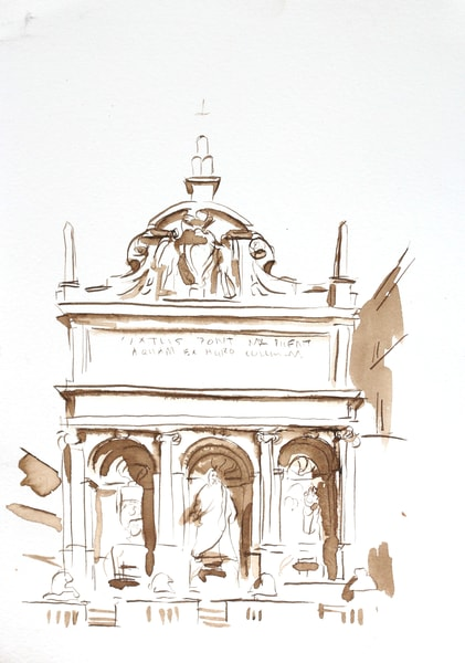 Original Rome Drawing Moses Fountain, Rome Italy 7x10 Art | Michelle Arnold Paine Fine Art
