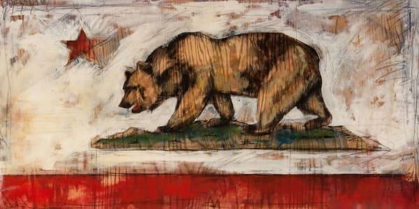 California Bear Flag Collage Original Art | Cristina Acosta Art & Design llc