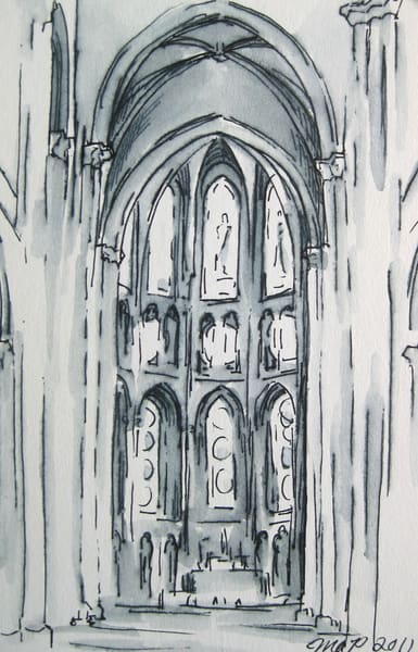 Original Ink Drawing, Dijon Cathedral Interior, France  Art | Michelle Arnold Paine Fine Art