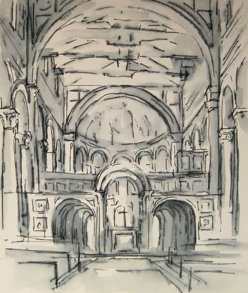 San Miniato, Florence Ink Drawing 5x6 Art | Michelle Arnold Paine Fine Art