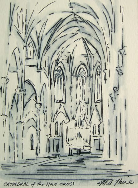Cathedral Of The Holy Cross Boston Original Pen And Ink Drawing Art | Michelle Arnold Paine Fine Art