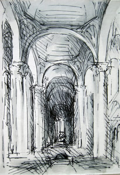 St. Hilaire Poitiers, France Pen And Ink Church Architecture Drawing  Art | Michelle Arnold Paine Fine Art